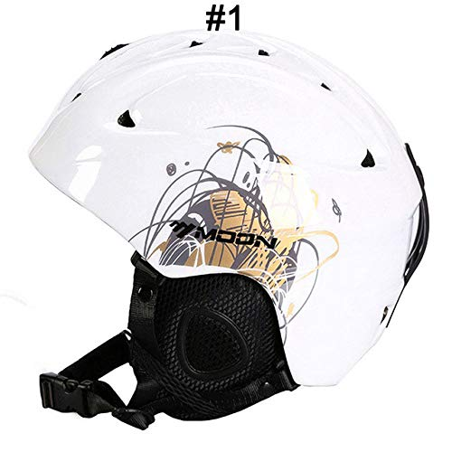 IAMZHL Skihelm Integrierter geformter Skihelm für Erwachsene und Kinder Schneehelm Skateboard Ski Snowboard Helm-White Butterfly-3-M