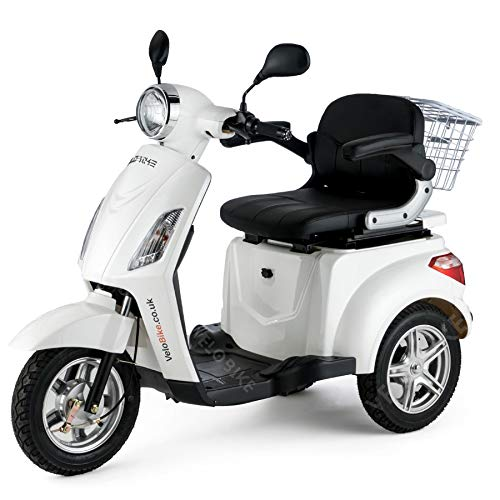 VELECO driewieler elektrische scooter senior mobiele elektrische rolstoel 3 wielen 25 km/u 900W (WIT)