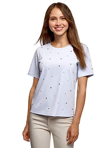 oodji Ultra Mujer Camiseta Recta con Pedrería, Azul, ES 46 / XXL