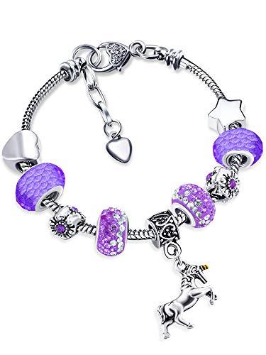 Einhorn Charm Armband Glänzender Kristall Strass Armreif mit Einhorn Geschenkbox Karten Set für Mädchen Dame (Lila, 14)