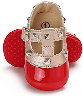Infant Newborn Baby Girl Shoes, Premium Soft Anti-Slip Crib Shoes Prewalker Toddler Shoes Mary Jane Princess Dress Shoes for 0-18 Months Babies