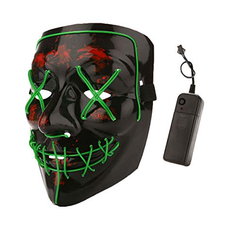 Halloween Costume Festival Parties Scary Mask LED Light Up Masks Green