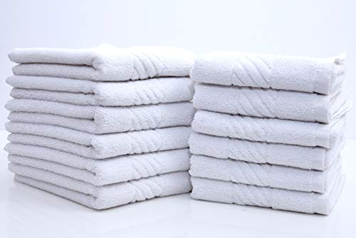 Cotton Hand Towels - Gym Towel Salon Towel - 12 Pack, White - 16 x 26 inches Terry Towels Salon, Maximum Softness and Absorbency, Easy Care