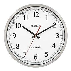 La Crosse Technology 404-1235UA-PL UltrAtomic 14 inch Stainless Steel Wall Clock, Plastic Lens, Silver