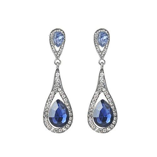 fablcrew 1par pendientes para mujer en forma de gota de agua para mujer y niña boda joyas de regalos de cumpleaños, aleación, azul marino, 6.5cm