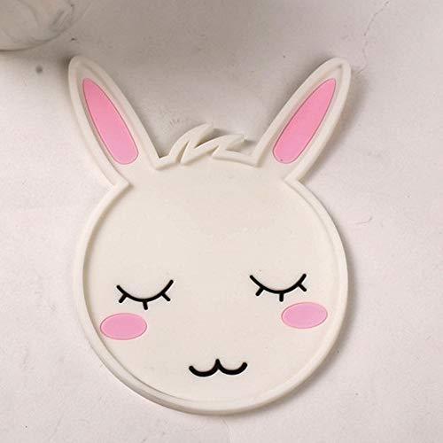 ZLDDE Coaster 5 Piece Set-Cute Cartoon Animal Silicone Coaster Rubber Faces Insulated Non Slip Water Cup Tea Coaster Hase