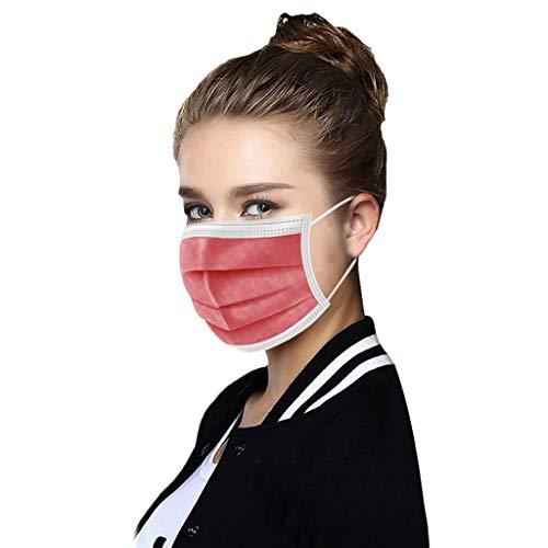 50 STK Einmal-Mundschutz Dreischichtige Einweg Mund und nasenschutz für Erwachsene und Jugendliche Atmungsaktive und komfortable elastische Ohrmuscheln Filter Gesichtsschutz (rot)