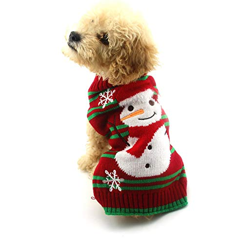 Yu-Xiang Dog Snowman Sweater Xmas Dog Holiday Sweaters Year Christmas Sweater Pet Snow Costume Red and Green Stripes Christmas Sweater (Snowman, S) Review