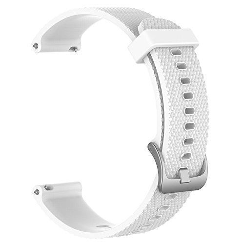 Bandas de repuesto para Garmin Vivoactive 3 / Vivomove / Vivomove HR Fitness Watch 20 mm Correa de silicona suave ajustable Quick Release Accesorio Watchband (Blanco, S)