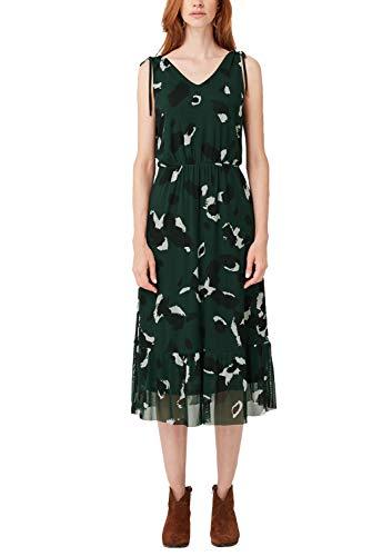 s.Oliver Damen Midi-Kleid aus bedrucktem Mesh Green AOP 34