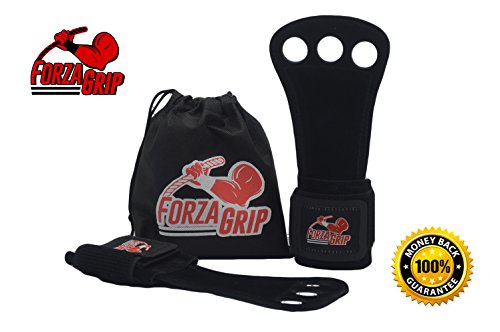 Gymnastics Leather Hand Grips Workout Cross Training Gloves and Wrist Wrap Support by FORZA GRIP Hand Protection Men Women deal Gym Training Weight Lifting WOD Free Carrying Bag