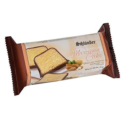Schlünder Marzipan Cake - feiner Rührkuchen mit Marzipan-Geschmack und Schokoladen-Hülle, Fertigkuchen ohne Alkohol, lecker & saftig, Bäcker-Kuchen aus Deutschland, einzeln verpackt, 400g