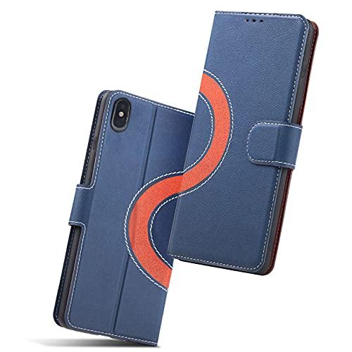 Holidi Handyhülle für iPhone X/Xs Hülle, Hülle iPhone X/Xs, Schutzhülle X/Xs, Klapphülle iPhone X/Xs, Tasche iPhone X/Xs, Leder Etui Folio, Flip Phone Cover Hülle für Apple 10/10X/10xs Handy. Blau/Rot