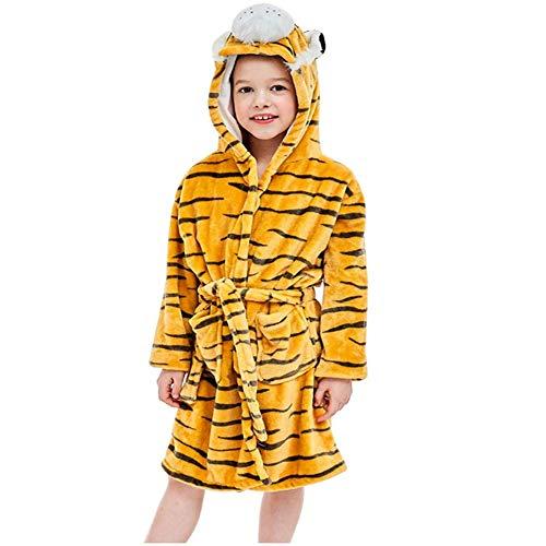 ZHANG Jongens/meisjes winter flanel badjas met capuchon en doubleface look, meisjes jongens badjas kinderen dieren, leeftijd 7-12 jaar
