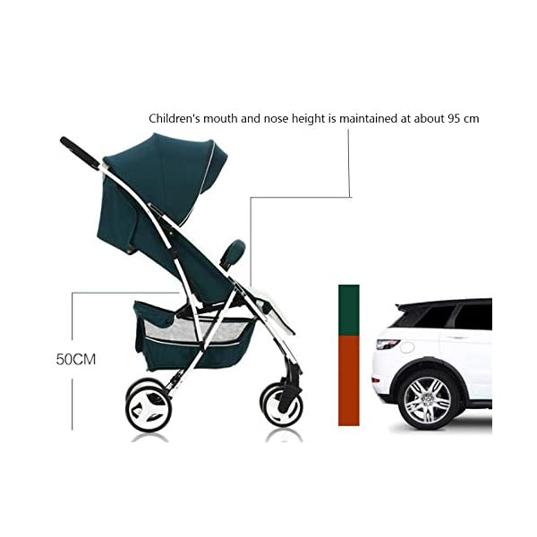 JXCC Baby Stroller Can Sit Reclining Simple Mini Aluminum alloy Stroller Folding Four Seasons Portable Shock absorber Super Child Baby Stroller from 0-36 months -Safe And Stylish Green JXCC 1. Can sit and recline, adjust the angle of 0-180 degrees, suitable for various situations 2. One-button removal, easy to clean, 5 parts can be removed 3. Two-wheel parallel connection, stable shock absorption, front wheel double suspension, single wheel double brake. 2