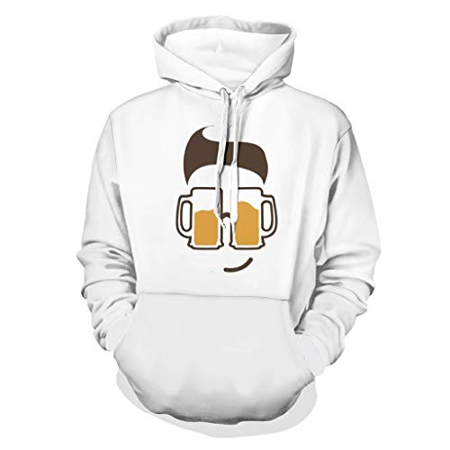 RNGIAN - Camiseta con capucha para hombre y mujer, diseño de cara de cerveza, varios diseños, con bolsillo frontal, 4XL