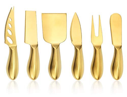 Apusu Käse Set Golden,Käsemesser rostfreier Stahl 6 Stück, Käseschneider aus Edelstahl, Käsewerkzeugsammlung, Käseverteiler, Hochzeits- / Partygeschenk