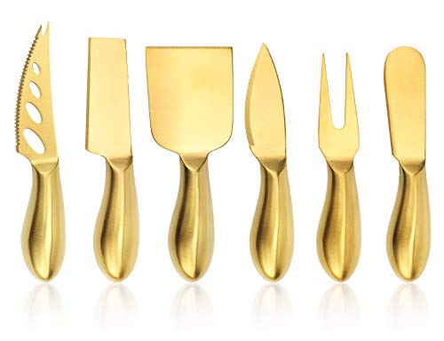 Premium 6-Piece Golden Cheese Knife Set, Stainless Steel Cheese Cutter Cheese Fork Slicer,Cheese...