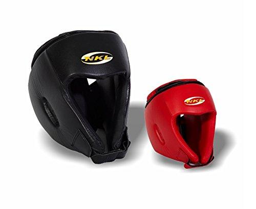 nkl–Casco Boxe aperto pelle, colore: rosso, nero e blu, taglia L