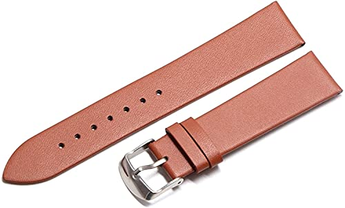 PINGZG Banda de Reloj de Cuero Genuino 18mm / 20 mm / 22 mm Strike Strap Strap Soft Plain Strap Strap Watch Watch Accesorios, cómodo Transpirable (Color : Light Brown Silver, Size : 20mm)
