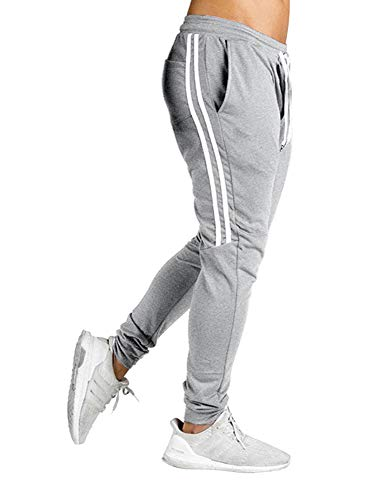 FLYFIREFLY Men's Gym Sport Jogger Pants Bodybuilding Workout Running Jogger Tapered Sweatpants Gray