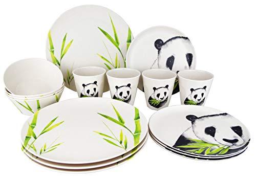 Gimex 16 teiliges Camping Geschirr Set Nature Line Panda Bambus für 4 Personen Bamboo Melamine