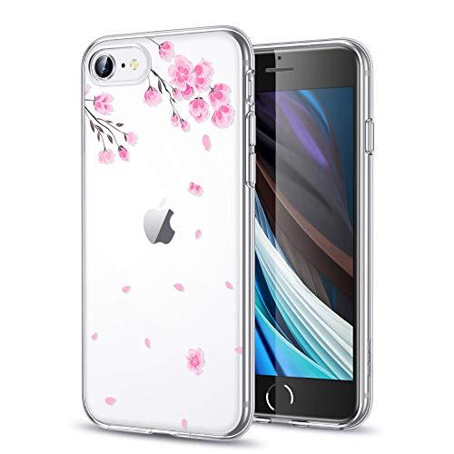 ESR Cover per iPhone SE 2020, Cover iPhone 8, Cover iPhone 7, Cover Trasparente in Polimero Morbido con Decorazione, Ultra Sottile Cover Protettiva TPU per iPhone SE 2020/8/7, Fiore di Ciliegio.