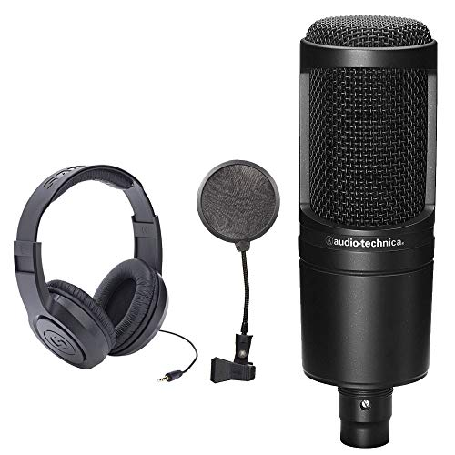Audio-Technica AT2020 Cardioid Condenser Studio Microphone + SR350 Over-Ear Stereo Headphones + Pop Filter