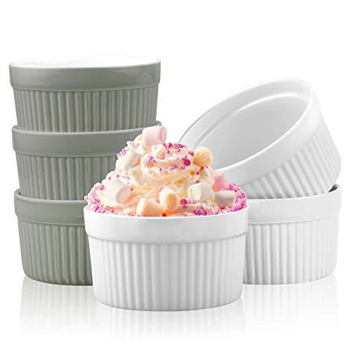 Tapusen Moules à soufflés, 6 pièces ramequins ensemble de tasses de cuisson en céramique, ustensiles de cuisson en porcelaine s appliquent à la crème Muffin Cupcakes Pudding Brulee Ice Cream (Gris)
