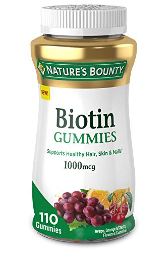 Biotin by Nature's Bounty, Vitamin Supplement, Supports Healthy Hair, Skin, and Nails, Fruit Flavored Gummies, 1000 mcg, 110 Count
