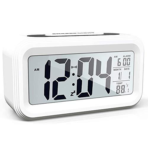 Reloj Despertador LCD Digital, Pantalla Reloj Alarma Inteligente y con Pantalla de Fecha y Temperatura Función Despertador, Función Snooze, Regalo Creativo para Familia Dormitorio Oficina