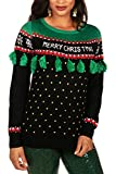 Tipsy Elves' Women's Christmas Tree Tassel Sweater - Black and Green Ugly Christmas Sweater Size Large