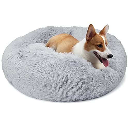 nononfish Pink Dog Bed with Blanket Attached Durable Round Dog Pillow Bed Nest, Snooze Sleeping Pet Cushion for Cats Small Dogs
