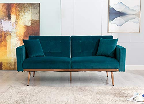 Velvet Futon Sofa Bed with 5 Golden Metal Legs, Sleeper Sofa Couch with Two Pillows, Convertible Loveseat for Living Room and Bedroom, Teal