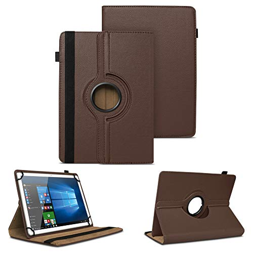 NAUC Tablet Tasche f Odys Connect 7 Pro Hülle Schutzhülle Cover Schutz Case 360° Bag, Farben:Braun