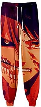 SIAOMA Anime Attack On Titan Elastic Waist Jogger Sweatpants Men Casual Pants Joggers Pants Half Eren,Large