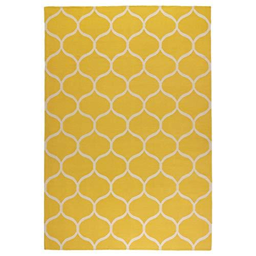 My Stylo Collection Teppichläufer Flach gewebt handgemachtes Netzmuster gelb Netzmuster - Größe zusammengebaut - Länge: 240 cm Breite: 170 cm Stärke: 4 mm Fläche: 4,08 m2 Flächendichte: 1350 g/m2