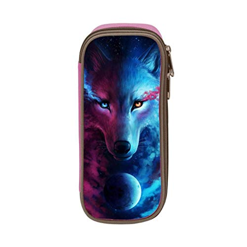 XCNGG Aufbewahrungstasche für Schreibwarenbeutel Pencil case,Large Capacity Psychedelic Wolf Student Pencil Box Stationery Bag, Multifunctional Zipper Storage Bag for Students and Adults, School and O