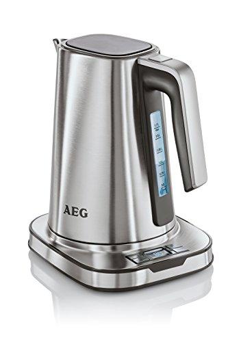 AEG EWA 7800 Expresswasserkocher (8 Temperaturstufen, Heißgetränk-Empfehlung, 1-Tassen-Kochfunktion, Echtzeit Temperaturangabe, Warmhaltefunktion, 1,7 l, Sicherheitsabschaltung, gebürstetes Edelstahl)