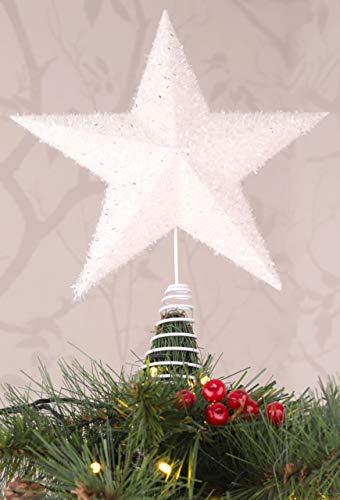Christmas Concepts® Estrella Superior de árbol Blanco Brillante de 28 cm - Decoraciones navideñas