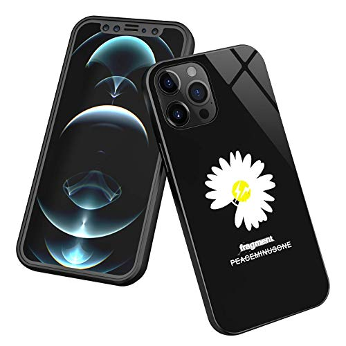 Taipow Funda para iPhone 12 Pro MAX, Compatible con Cargador Inalámbrico, LED Flash Activado por Voz con Sensor Inteligente, Marco de TPU, Contraportada de Vidrio Templado, Anti-caída
