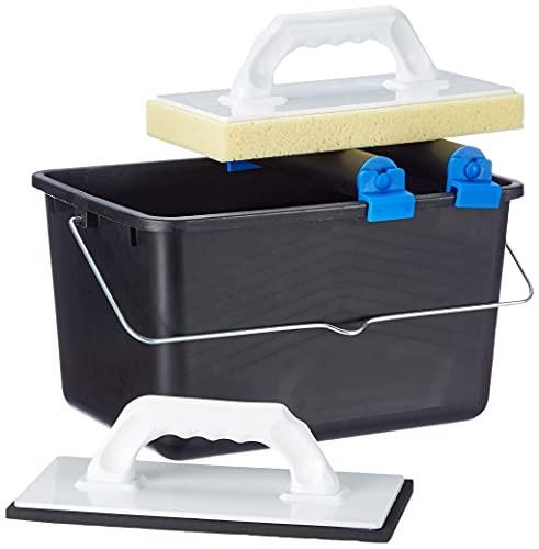Top Deal 1801673Suki carrelage à laver Set 5pièces Bleu avec roulettes doubles Embout, 1planche à laver pour carrelage, 1Taloche en plastique avec zellkaut Schuk, 1seau...