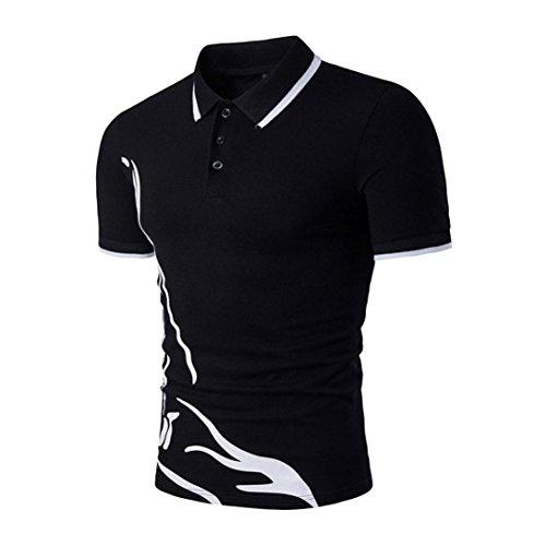 Men's Polos Shirt,Turn-Down Collar Sleeve Tee Dress Shirt Casual Slim Blouse Tops (M, Black)