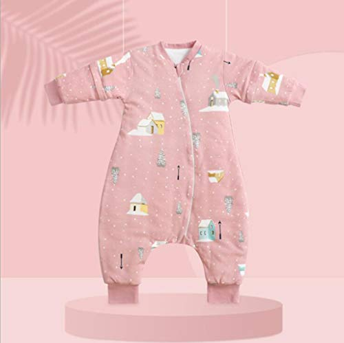 Baby-Schlafsack, Kleinkind Schlafsack, Babyschlafsack Split Leg mit abnehmbaren Ärmeln, Double Zip & Soft Breathable Organic Cotton (1,L)