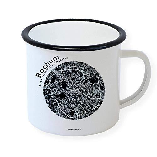 Bochum Retro Emaille-Becher Design-Tasse, Stadtplan in 5 Farben, Camping Büro Zuhause