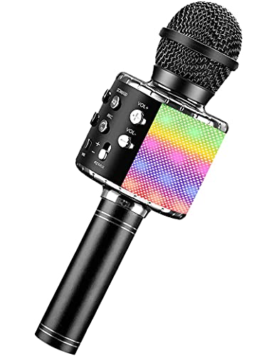 Karaoke Microphone for Kids Adults, Wireless 4 in 1 Handheld Bluetooth Microphone with LED Lights, Portable Smartphone Speaker Boys Girls Singing Toys for Home KTV Outdoor Christmas Birthday Party