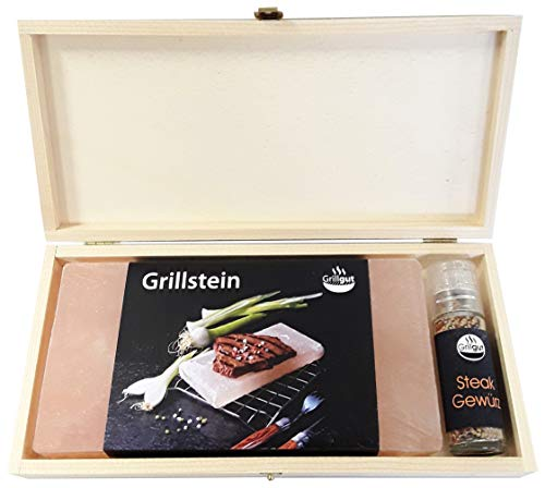 GRILLGUT* Salzstein mit Taschenmühle *Steakgewürz* in Geschenk-Holzbox zum Grillen – Hochwertiger BBQ Salz Grillstein für einen besonderen Geschmack – Salzplanke zum Grillen