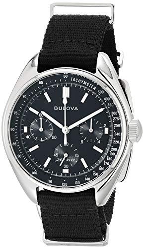 Bulova Reloj deportivo de cuarzo para hombre de acero inoxidable con correa de nailon, negro, 20 (modelo: 96A225)