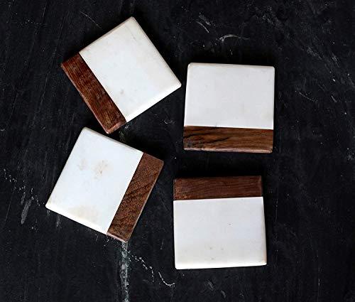 Weißer Marmor Und Sheesham Holz Untersetzer Set 4 Tassen Mat Table Decor Flasche Geschirr