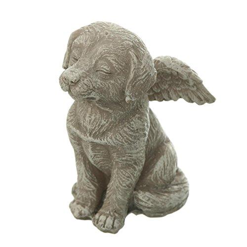 Grabschmuck Hunde Figur sitzend, geschlossene Augen, Engelsflügel. 9cm. 1 Stück